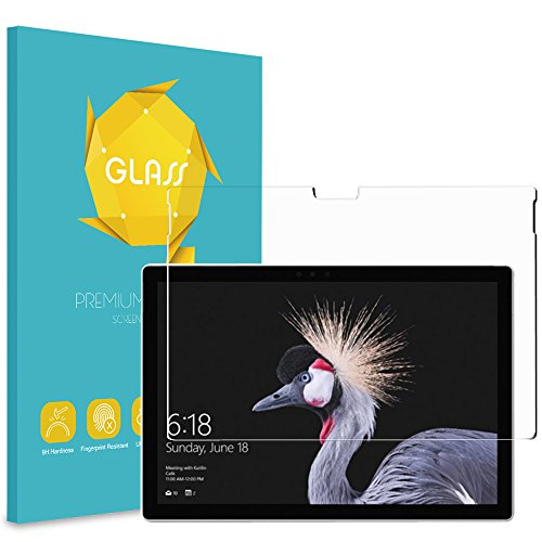 Fintie Panzerglas Schutzfolie für Microsoft Surface Pro 6 - [9H Härte] [Anti-Kratzen] [Kristall-klar] [Bläschenfrei zu Montage] Glas Folie Bildschirmschutzfolie für Surface Pro 2017/ Pro 4 12.3'' Tablet