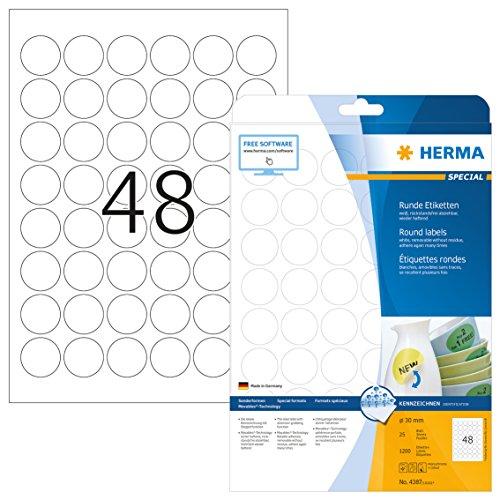 HERMA 4387 Universal Etiketten DIN A4 ablösbar (Ø 30 mm, 25 Blatt, Papier, matt, rund) selbstklebend, bedruckbar, abziehbare und wieder haftende Adressaufkleber, 1.200 Klebeetiketten, weiß -