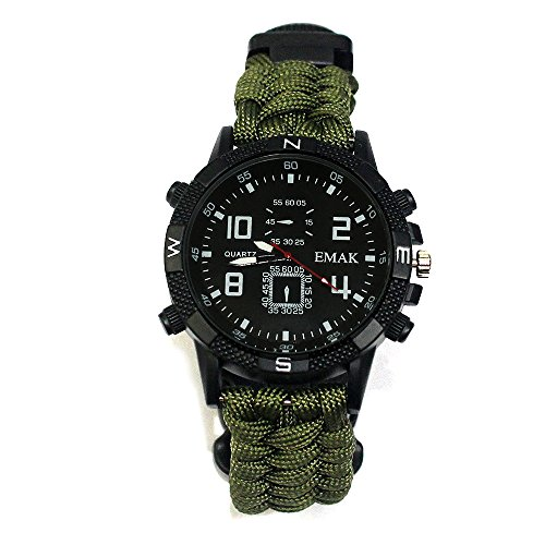 VADOOLL Herren Frauen Survival Analog Digital Uhr, Wasserdicht Tactical Dual Time Display Notfall Sports Armbanduhr Uhr mit Survival Gear