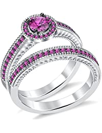 1Ctw Round Pink Sapphire Diamond Solitaire With Accent Bridal Ring Set White Gold PL