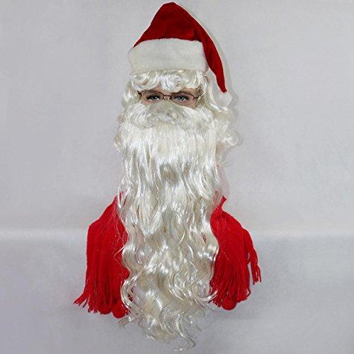 JIAF Weihnachten Perücke 75 cm Langer Bart Santa Perücke Urlaubs Party ()