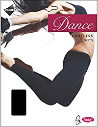 SILKY FOOTLESS DANCE TIGHTS BLACK Adult Sizes 10% Spandex