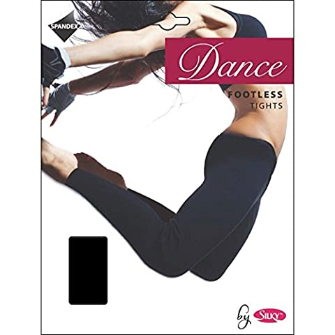 SILKY FOOTLESS DANCE TIGHTS Black Girls Sizes 10% Spandex (Age 11-13 years (up to 152cm))