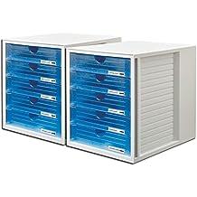 4 geschlossene Sch/übe mit federmechanismus Hochwertige Design Serie Schwarz Schubladenbox Systembox