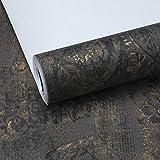 Wallpaper Amerikanisches Land Retro-Old-Style-Tapete Licht Luxus Bronzing dunkle Muster Jane schöne Schlafzimmer Wohnzimmer Tapete (Color : Black Gold)