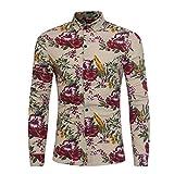 Herren Hemd T-shirt,Dasongff Herren-hemd Mode Blumendruck Hemden Taste Langarm Hemd Grundlegende T-Shirt Bluse Tops (XL, Khaki) Bild