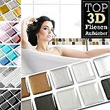 Grandora 7 Stück 25,3 x 3,7 cm Kupfer dunkelgrau Silber Fliesenaufkleber Design 22 I 3D Mosaik Fliesenfolie Küche Bad Wandaufkleber Fliesensticker Fliesendekor W5423