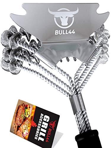 Bull44 BBQ Grillbürste 360° mit Schaber - Borstenfrei - ohne Borsten - aus Edelstahl - Langer Griff für sichere schnelle Grillreinigung - Grillzubehör