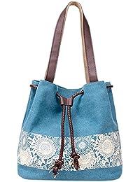Ocamo Casual Women Large Capacity Tote Canvas Shoulder Bag Female Lace Print Shopping Bag Beach Handbags