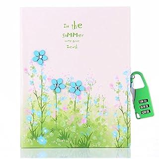 Geheimes Tagebuch für Kinder von Cuzit, 3D-Blumen als Dekoration, 15,98 cm x 12,98 cm, rosa, tolle Geschenkidee grün