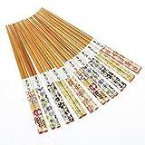 Howay 10 Paires de Baguettes japonaises en Bambou Baguettes Naturelles réutilisables 22.5CM Riches fleursC14