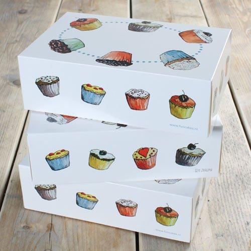 - Transportschachtel für 6 Cupcakes, 24 x 16 x 8cm, 3 Stück inkl. Einsatz (Mini-cupcake-box)