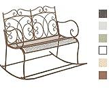 CLP 2er-Schaukelbank Gesine aus Eisen I Gartenbank im Landhausstil I Eisenbank mit hoher Rückenlehne I In Verschiedenen Farben erhältlich Antik Braun
