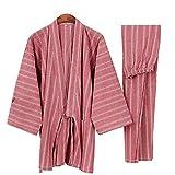 Alien Storehouse Men's Japanese Style Enganliegende, Kurze Ärmel Baumwolle Kimono Pyjamas Anzug Dressing Gown Set, O