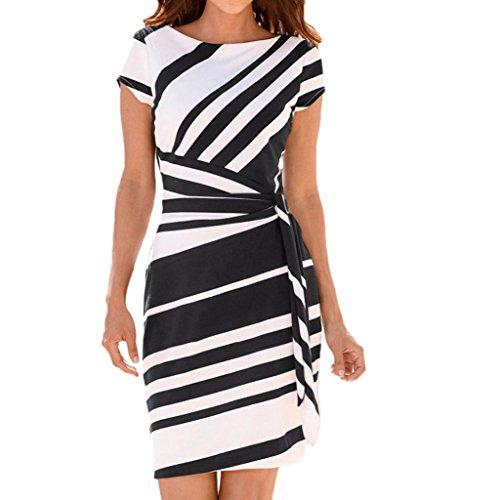 Dresses Pencil Gestreiftes Party-Kleid beiläufige Minikleider Slim-Fit Abendkleid Taille Gürtel(Schwarz,EU-38/CN-S) (Schwarz Und Weiß Gestreiften Rock Kostüm)