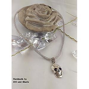 Kette aus Edelstahldraht mit Totenkopfanhänger - Unikat