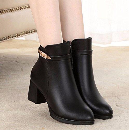 KHSKX-Mère De 6 Cm Noir Automne Hiver Chaussures Bottes Courtes En Coton Le Plus Âgé Des Chaussures Et Velvet Chaud Avec Bold Et Suivre La Pente De La Middle-Aged Boots 39
