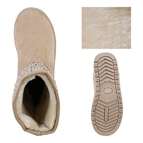 Damen Schuhe Schlupfstiefel Boots Winterstiefel Total Creme Strass