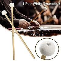 Beesuya 1 Pair Drumstick Felt Wood Tip Drumsticks -Sound Comfortable Drumstick Percussion Accessories 38.53.5cm effective