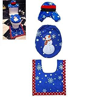 Beito 3pcs / Set de Navidad muñeco de Nieve Cubierta de Asiento de Inodoro de Santa Diseño Lindo Cubierta de la Tapa Alfombra Juego de baño Artículos de decoración (Árbol y muñeco de Nieve)