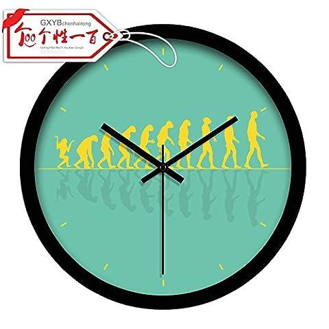Quietness @ Moderne Horloge murale créative silencieuse et colorée créative L'histoire de l'évolution /12 pouces/ green