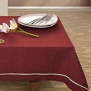 115x220 cm bordeaux rot dunkelrot burgund Tischdecke Tischtuch elegant praktisch pflegeleicht Leinoptik Lein Optik mit Borte Modern Lein