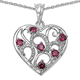 The Rhodalite Pendant Collection: Sterling Silver Pink Rhodalite Heart Pendant & Platinum Overlay & 18 Inch Chain, Mother's Day, Anniversary Gift