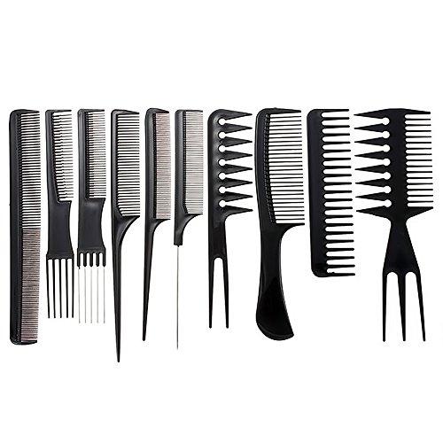 Vococal® 10 Pcs Anti-Statique Peigne Set Plastique Esthétique Outil Cheveux Accueil Salon Barbiers Dresser Styling Set Noir