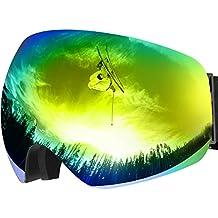 Gafas de snowboard de esquí con 100% UV400 protection, OMorc doble espejo antivaho antifricción y desmontable,ajustable,diseño esférico gran campo de visión (azul)