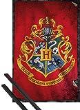 1art1 Poster + Hanger: Harry Potter Poster (91x61 cm) Hogwarts Flagge Inklusive EIN Paar Posterleisten, Schwarz