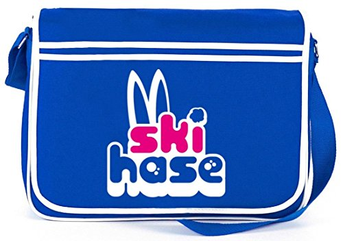 Shirtstreet24, Ski Hase, Après Ski Wintersport Retro Messenger Bag Kuriertasche Umhängetasche Royal Blau