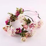 Butterme Baby Mädchen and Damen Eltern-Kind Haarband Blumen-Stirnband Boho Blumenstirnband Haarband für Festival Hochzeits-Geburtstag-Partei