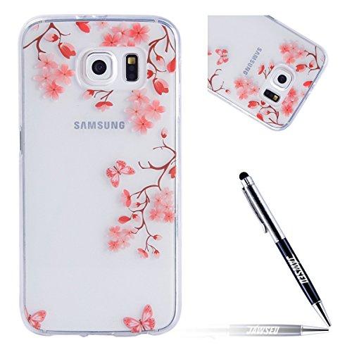 Kompatibel mit Samsung Galaxy S6 Hülle Schön Pink Blumen Transparent Crystal Clear Silikon Gel Schutzhülle Durchsichtig TPU Silicone Bumper Schutz Handy Hülle Case Tasche Etui,Pink Blumen