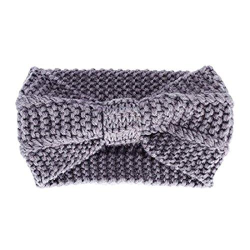 Miya Elegant Strick-Kopfband, warmes Strick Stirnband für Mädchen, Damen Haarband Geknotete Stirnband, Kopfband (hellgrau)