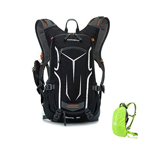 Fahrradrucksack mit Regenschutz Leichter Wasserdicht Rucksack 18l mit Abnehmbare Handytasche für Kurze Wanderstrecken Schwarz