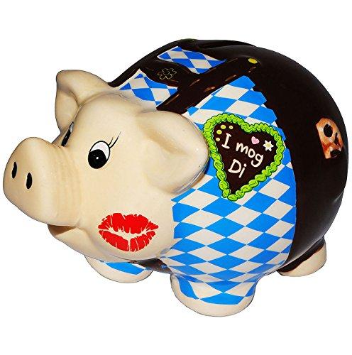 alles-meine.de GmbH XL Spardose -  Oktoberfest - I MOG DI !  - stabile Sparbüchse aus Porzellan / Keramik - Sparschwein - für Kinder & Erwachsene / lustig witzig - Reisekasse U..