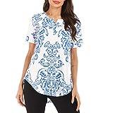 URIBAKY Femme Hauts,2019 ÉTé T-Shirt à Manches Courtes pour Femmes imprimé avec Poche de Grande Taille Tee-Shirt Femme Casual T Shirt Haut Top...