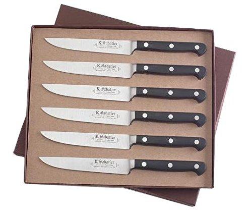 K Sabatier - Coffret De 6 Steaks 13 Cm K Sabatier - Gamme Proxus - Acier Inoxydable - Manche Noir - 100% Forge - Entièrement Fabrique En France