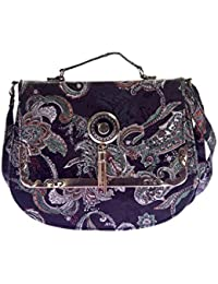 Envie Faux Leather Black And Multi Colour Printed Sling Bag For Women