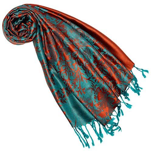 Lorenzo Cana Designer Pashmina Marken Schal floral gewebtes Blumen Muster Damast Webart 70 cm x 180 cm Naturfaser Modal Schaltuch Schal Tuch Jacquard 9323477