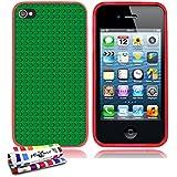 Originale Schutzschale von MUZZANO : Rot, ultradünn und flexibel, mit Green bricks-Muster für APPLE IPHONE 4 / IPHONE 4S