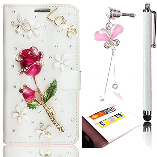 Sunroyal Fabric Leather-Effect Flip Folio Wallet Schutzhülle Case Cover in PU Leder Innen Harte Haut Gel Rubber Case Rhinestone Strass Besetzte für Microsoft Lumia Nokia 625 N625 Hülle Tasche mit Kreditkartenfach, Magnetverschlu + 1x 3.5mm Universal Schleife Kristall Bling Anhänger Strass Diamant Anti Staub Schutz Stecker Stöpsel + 1x Metall Stift Stylus Touch Pen,Love Series Schön 3D Dark Rot Rose Blume Grün Blatt Weiß Bottom Malerei