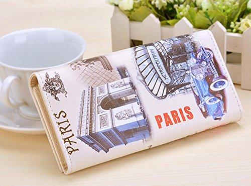 Minetom Donne Lungo Portafoglio Torre Eiffel Titolare Della Carta Portamonete ( Type 2 ) USA