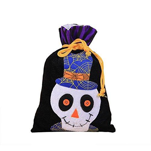 Doitsa 1pc Halloween Dekorationen Vliesbündel Süßigkeitstaschen Geschenktüten Print Stoffbeutel Umhängetasche Langer Henkel 15cm*27cm (Menschliches Skelett)