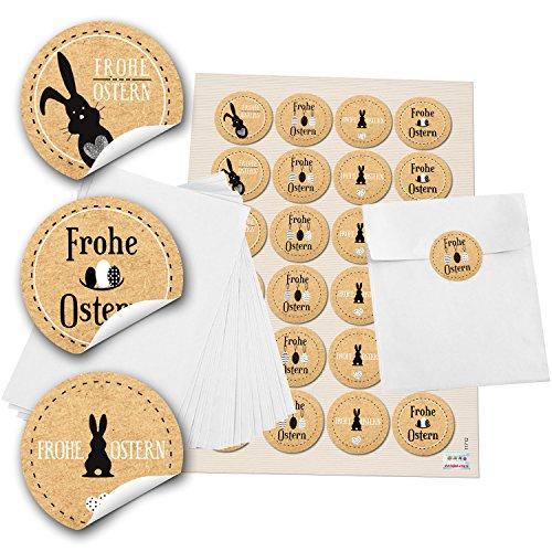 Preisvergleich Produktbild 24 weiße Papiertütchen (13 x 18 cm) und 24 runde Aufkleber 4 cm schwarz beige braun weiß Kraftpapier mit Frohe Ostern und Osterhase