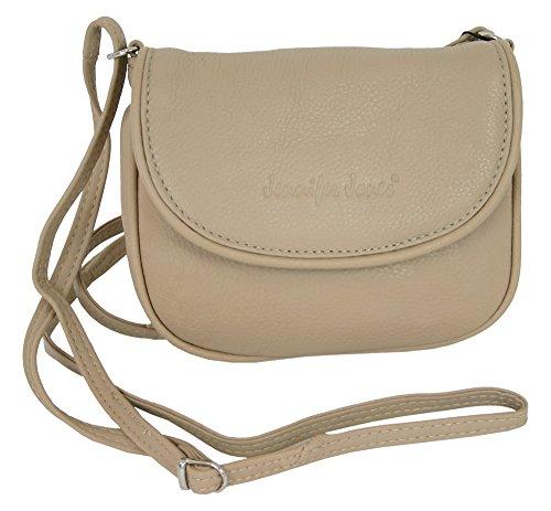 Kleine Echt-Leder Damen Umhängetasche Schultertasche Beige crossover Handtasche Abendtasche crossbody bag (6210)