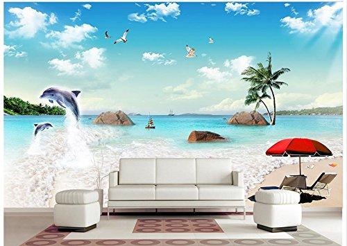 Chlwx 3D Wallpaper Custom 3D Wandbilder Tapeten Das Meer Kokospalmen Delphine Und Blauer Himmel Weisse Wolken Landschaft Gemälde An Der Wand 300Cmx200Cm