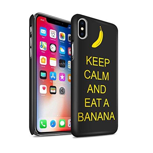 STUFF4 Matte Snap-On Hülle / Case für Apple iPhone X/10 / Schnurrbart/Braun Muster / Bleib Ruhig Kollektion Essen eine Banane/Jaune