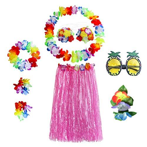 Mishiner 8 STÜCKE / 1 Satz Hula Rock Kostüm Zubehör Kit für Hawaii Luau Party - Tanzen Hula mit Blume Bikini Top, Hawaiian Lei, Hibiskus Haarspange, Ananas Sonnenbrille für Frauen - Ananas Kostüm Top