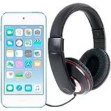 DURAGADGET Auriculares De Diadema Para Apple iPod Touch ( 6 / 5 / 4 / 3 / 2 / 1 Generación ) - Negro Y Rojo - Con Cable De 2 Metros Y Conexión Jack De 3.5mm